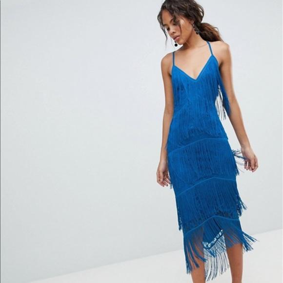 4530faefdc1 ASOS Dresses   Skirts - ASOS Fringe   Lace plunge bodycon midi dress